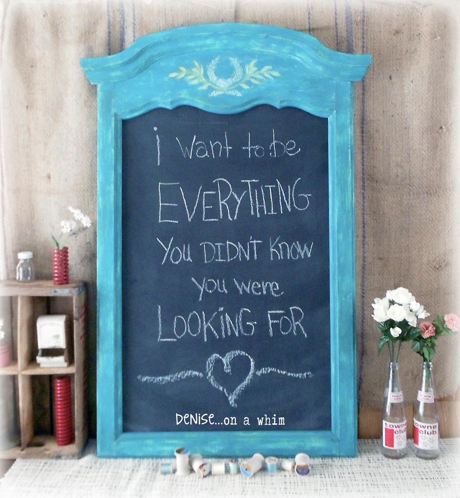 Bright Turquoise Chalkboard via http://deniseonawhim.blogspot.com