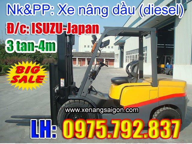 Hàng mới về: Xe nâng dầu (diesel) 3 tấn - 4m Eoslift, giá khuyến mãi (Lh 0975 792 837)