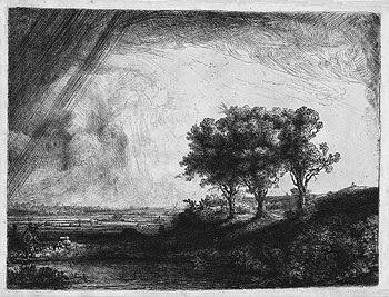 Rembrandt - Paysage aux trois arbres,1643. Eau-forte,pointe sèche et burin.
