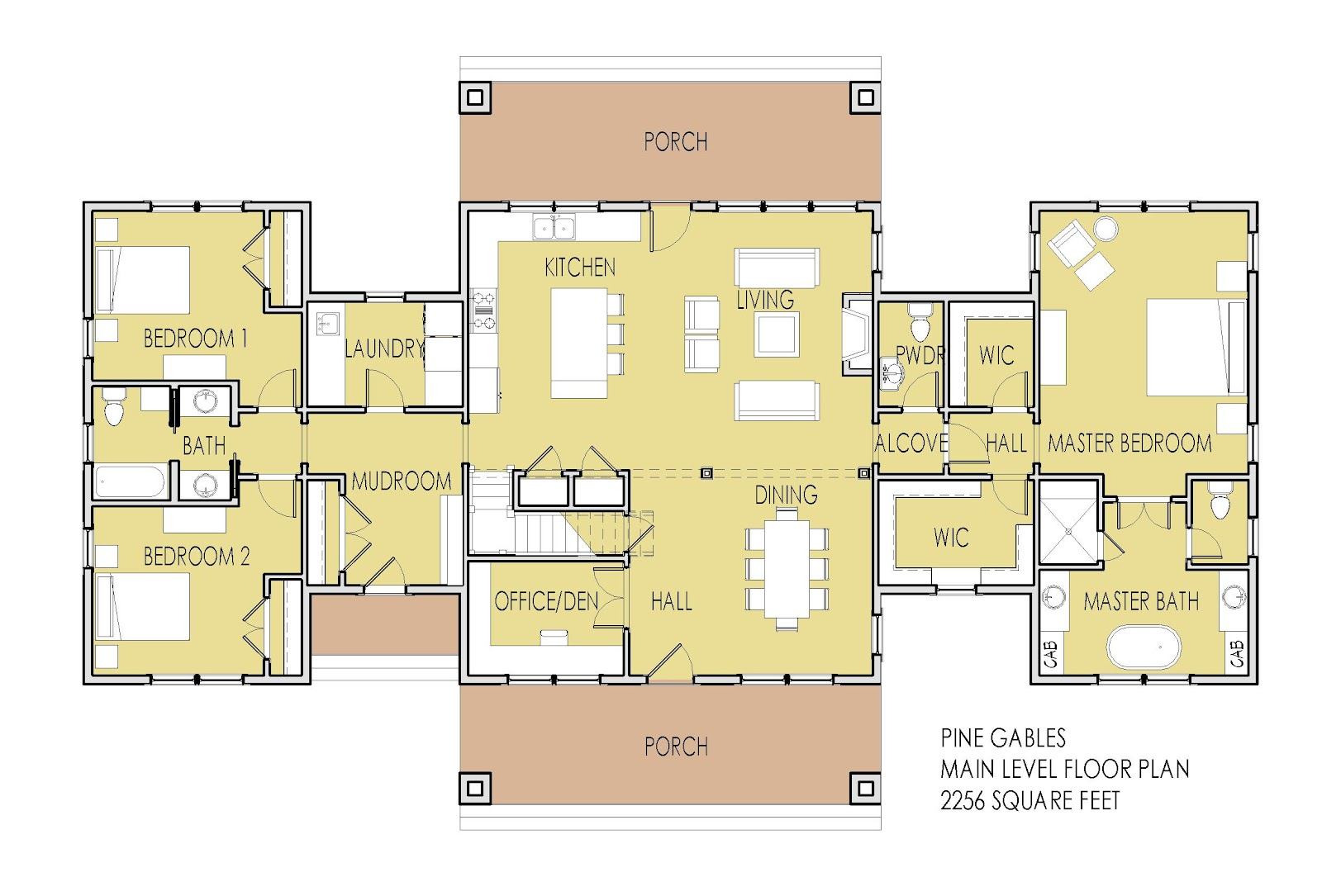 Main level floor plan features one level living with main floor master bedroom suite 2 additional bedrooms and a vaulted great room space