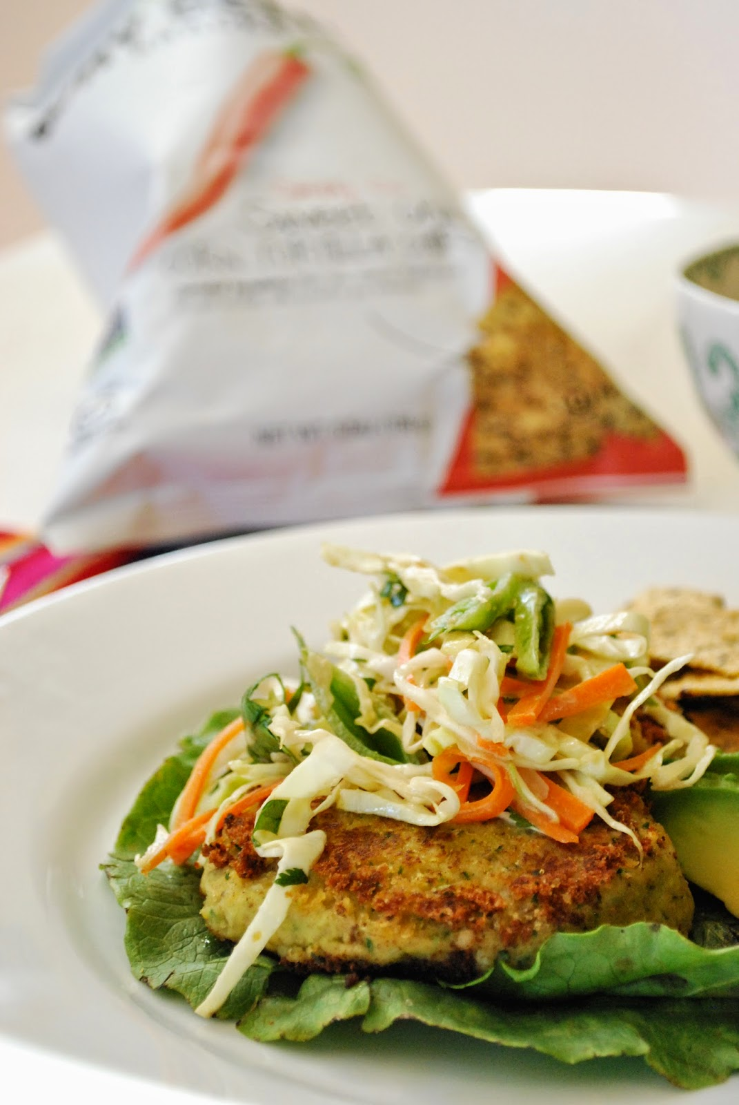 Thai Sweet Chili Chip Veggie Patties with Ginger Slaw: vegan, gluten-free, dairy-free