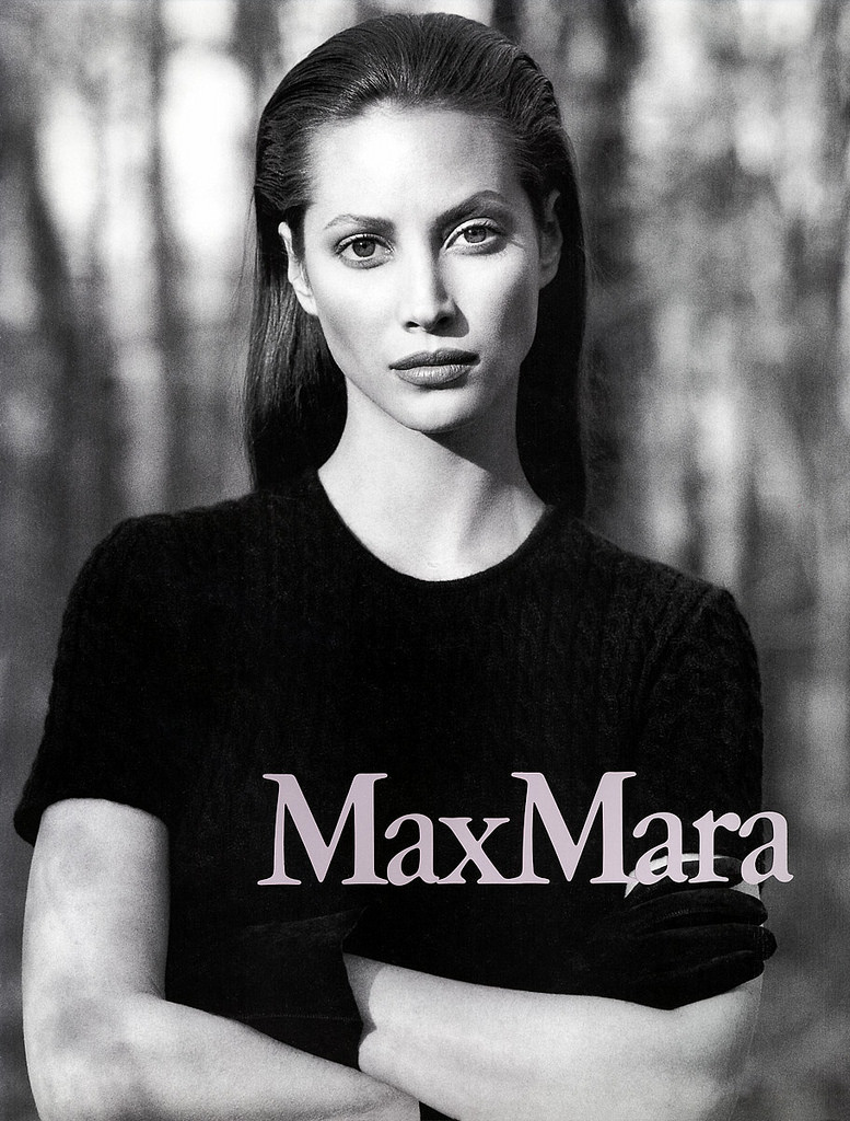 Christy Turlington in Max Mara 1995 campaign photographed by Max Vadukul via www.fashionedbylove.co.uk
