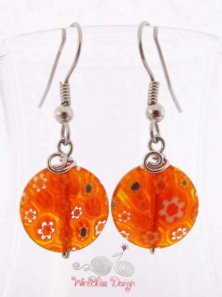 Large glass dangle earrings by WireBliss - orange millefiori glass beads