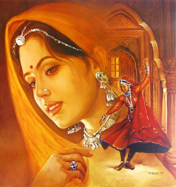 Rajasthani Girls Art Paintings 14