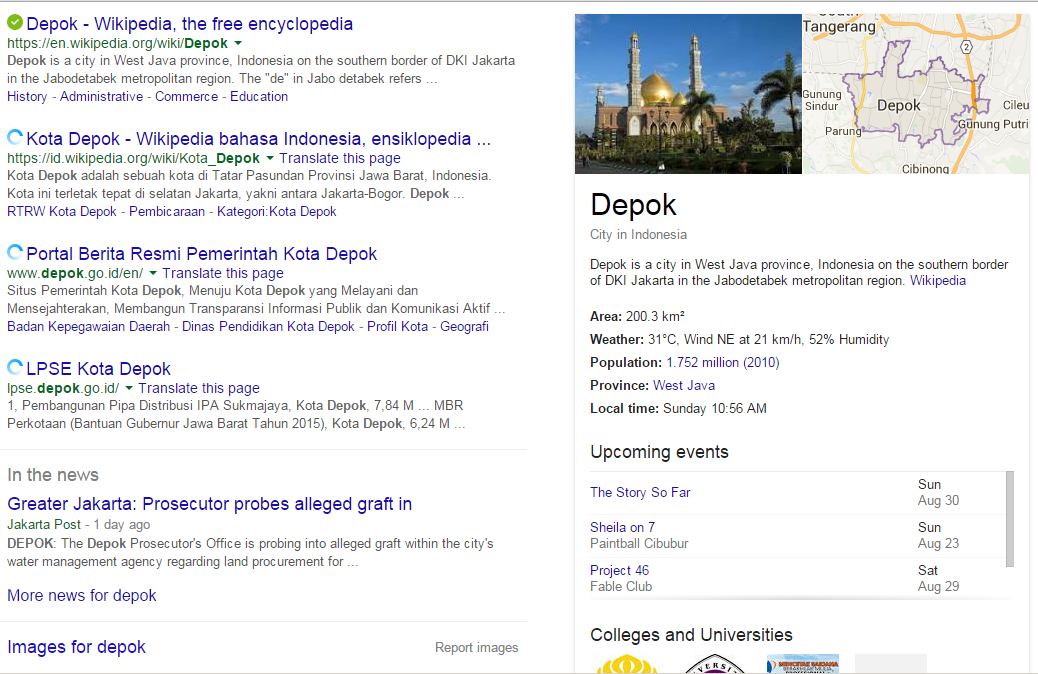 Wikipedia di mesin telusur Google
