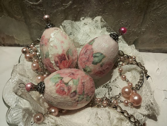 Set of 3 Shabby Chic Decoupaged Eggs on Etsy by Cottage Vintage Shabby via Prodigal Pieces