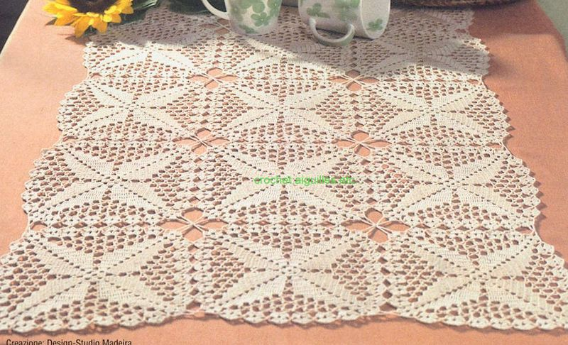 Crochet aiguilles etc jolis carr s pour nappe chemin - Nappe de table carre ...