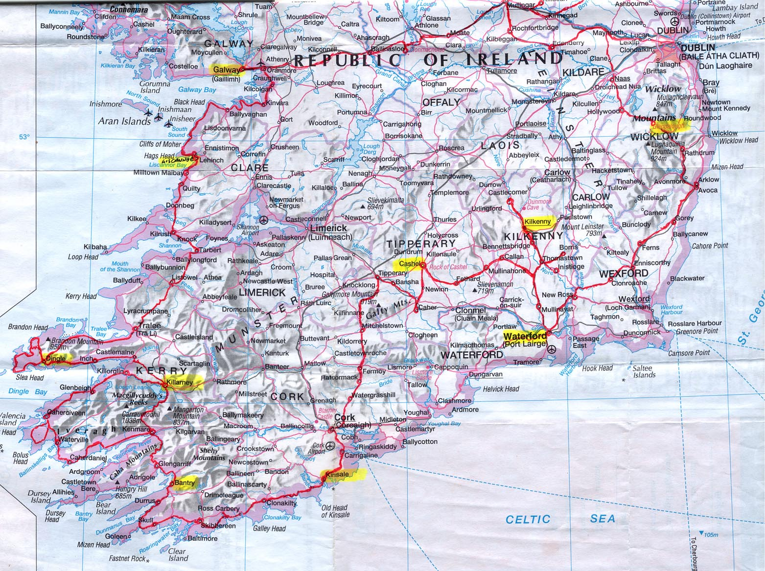 It is a graphic of Effortless Printable Road Map of Ireland