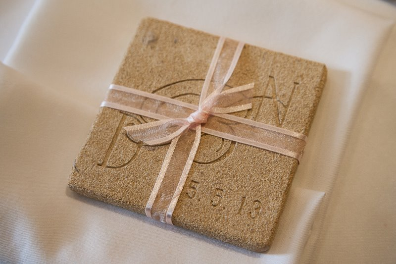 wedding favours, coasters, bath stone, ribbon