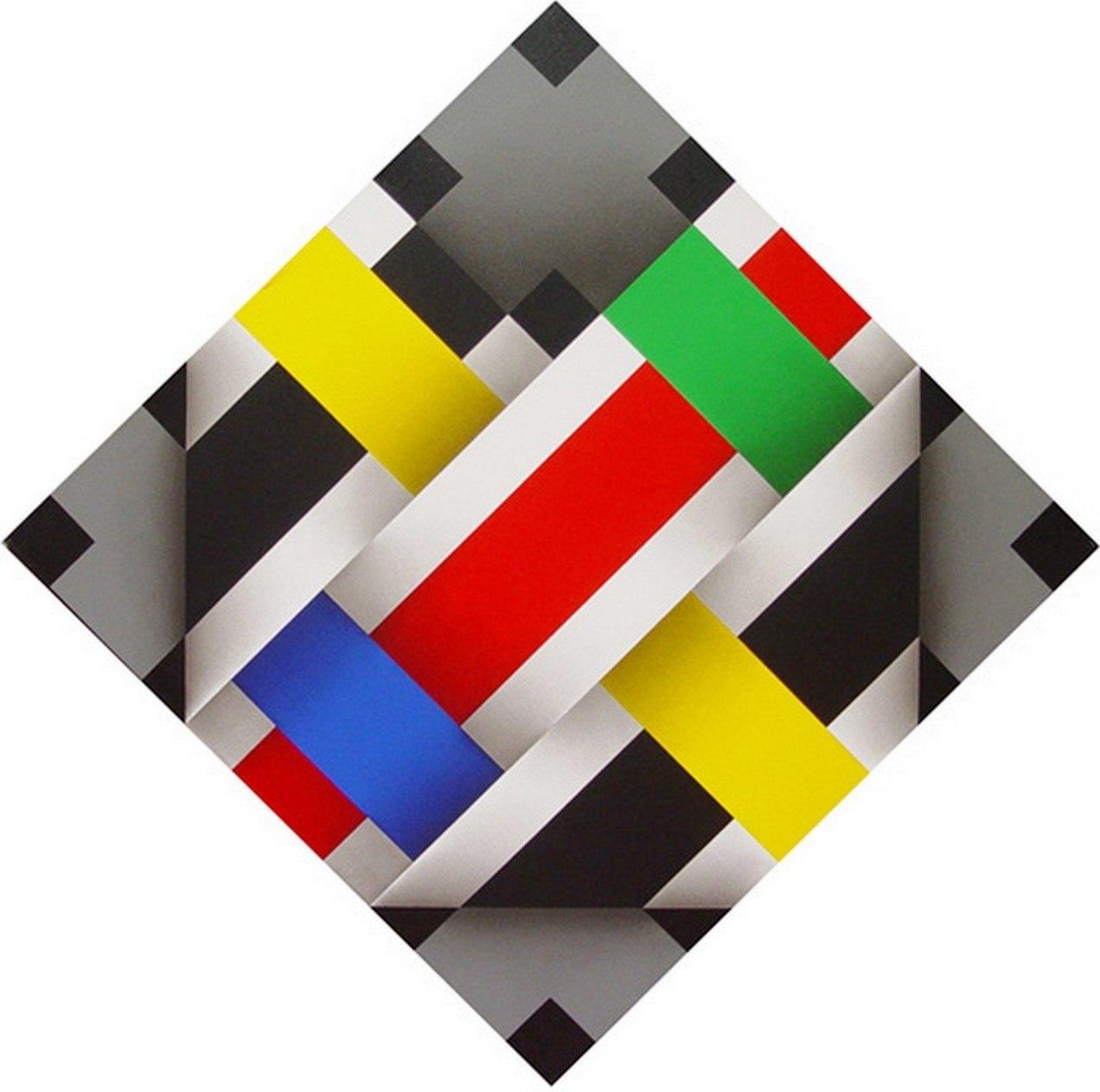 Pinturas cuadros lienzos abstractos de omar rayo for Cuadros con formas geometricas