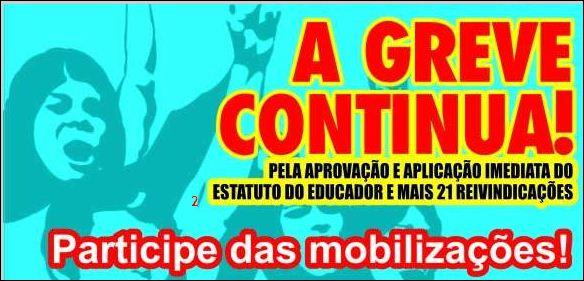 PELA IMPLANTAÇÃO IMEDIATA DO ESTATUTO DO EDUCADOR!