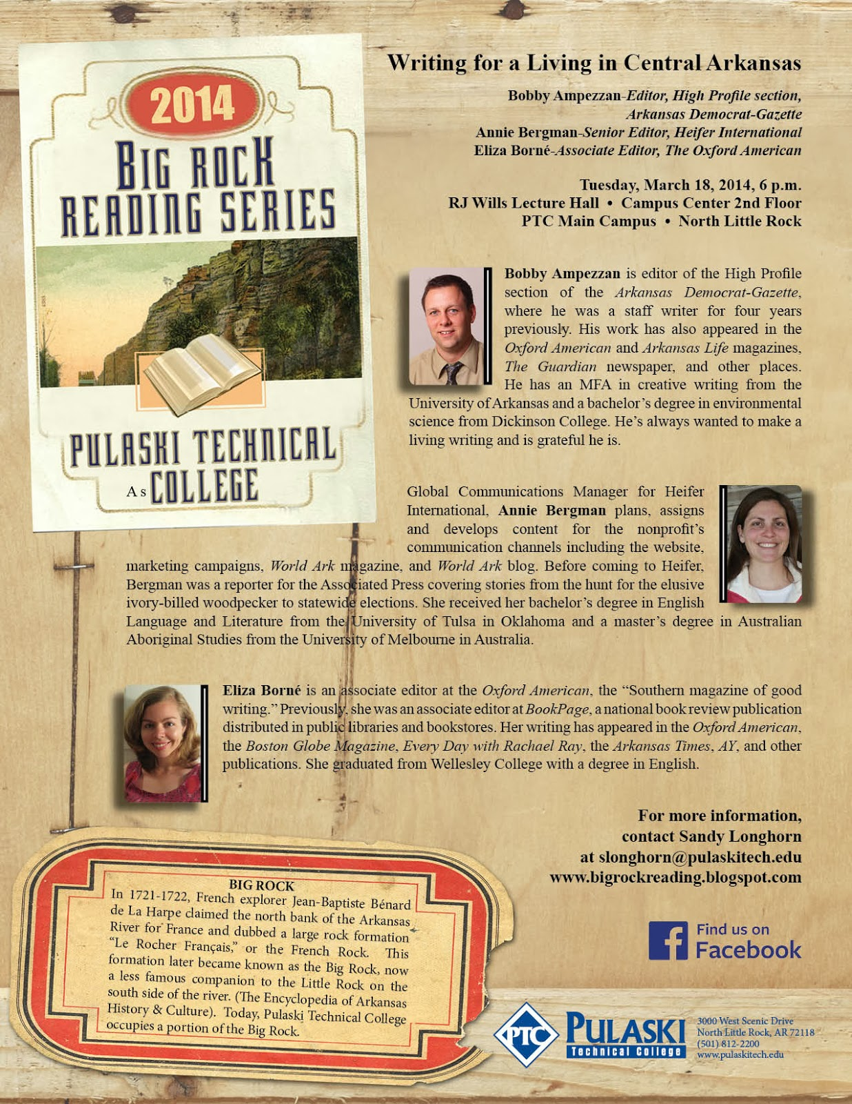 big rock reading series tuesday 18 2014 6 00 p m rj wills lecture hall campus center pulaski tech main campus