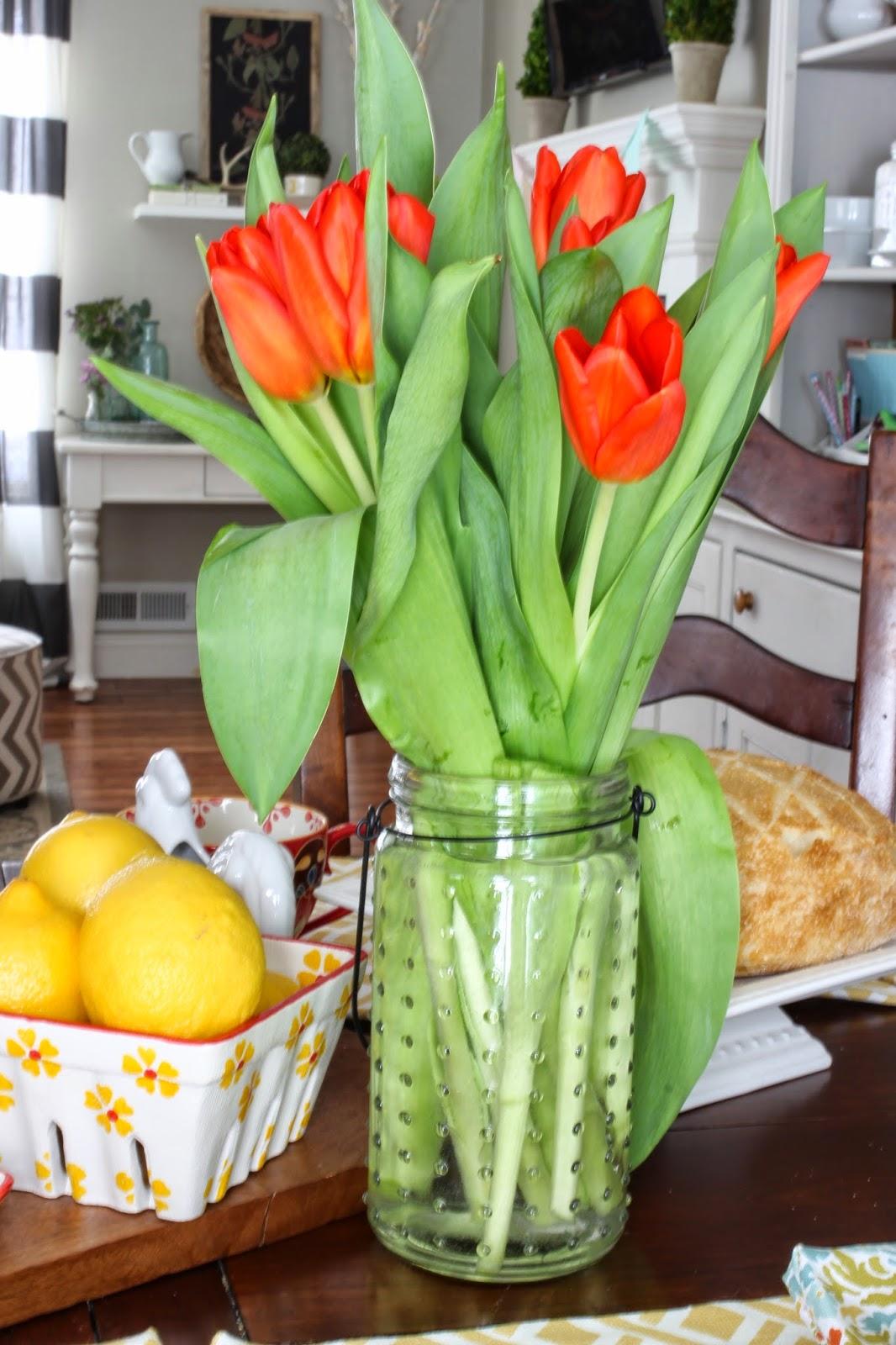 Spring tulips in Target dollar spot vase-www.goldenboysandme.com