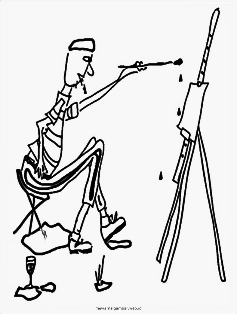 gambar sketsa pelukis hitam putih