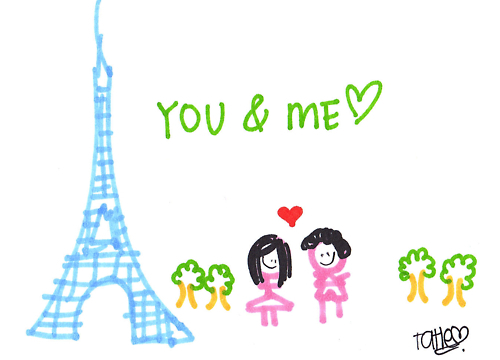 I Love Paris Wallpaper cartoon : Paris: Paris Eiffel Tower cartoon