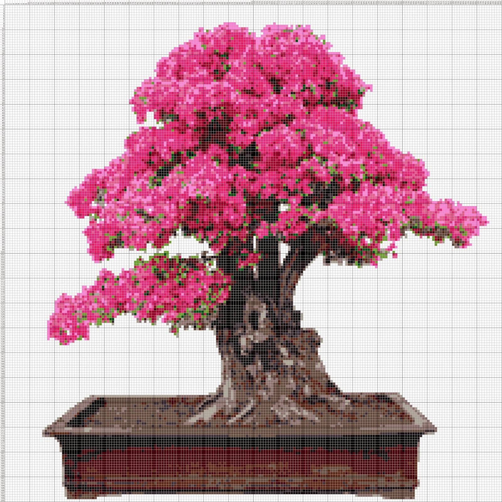 Gambar Pola Kristik Pohon Bonsai Bougenville