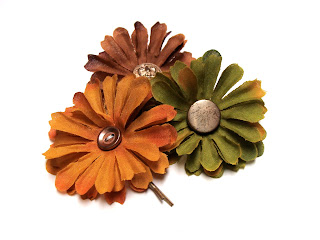 bobby pin hair flowers in mustard yellow, nutmeg brown, and moss green with gold button centers