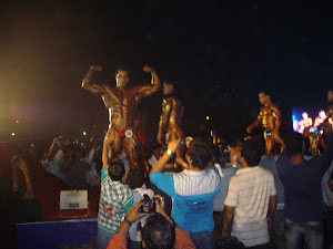 "Bodybuilders strutting their glistening bodies on the ""TIGER WALK RAMP"".(Saturday 31-3-2012)"