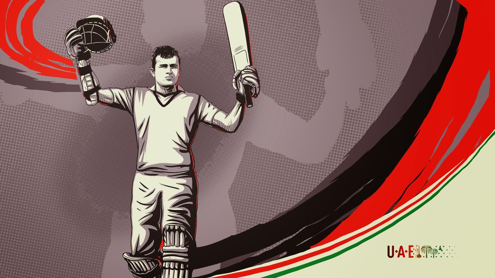 Saqib Ali United Arab Emirates cricketer illustration sketch
