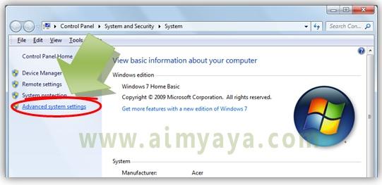 Gambar:  Jendela System properties Control Panel di Microsoft Windows 7