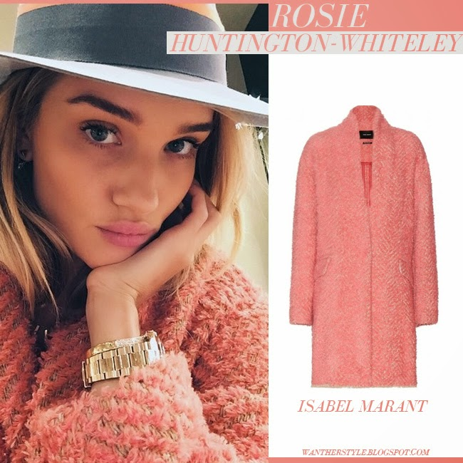 Rosie Huntington-Whiteley in pink fluffy coat gabriel isabel marant with gold watch and fedora instagram april 25 2015 want her style boho cute chic