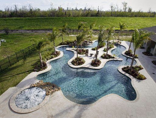 Backyard Lazy River Pool : lazy river pool Dont expect much of a return at resale time on