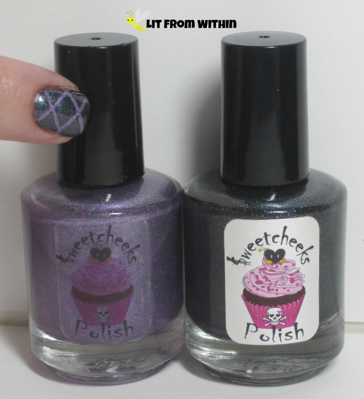 Bottle shot:  Sweetcheeks Polish in Vous Etes Mon Soleil and Black Ice.