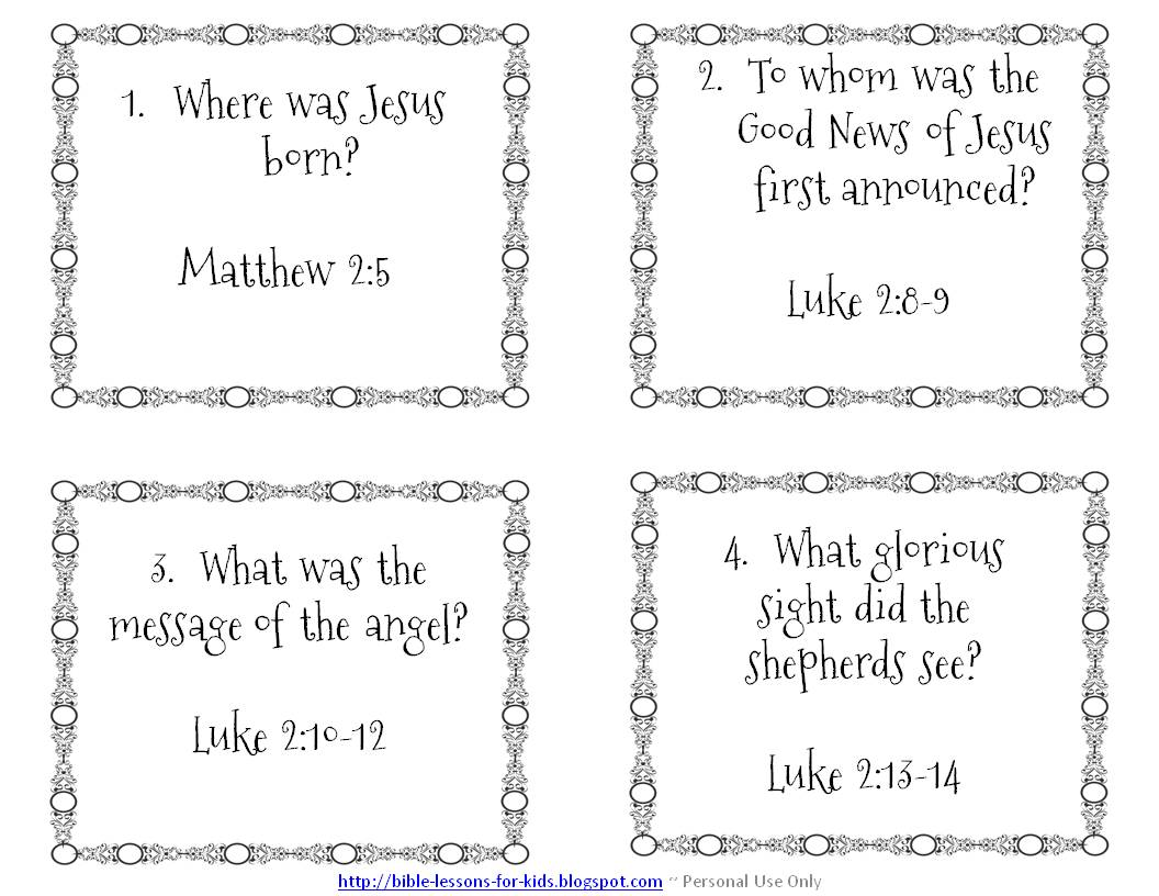 Worksheets Children Bible Study Worksheets bible lessons for kids christmas question cards games and these are personal or classroom use only the questions have children looking directly into answers an an