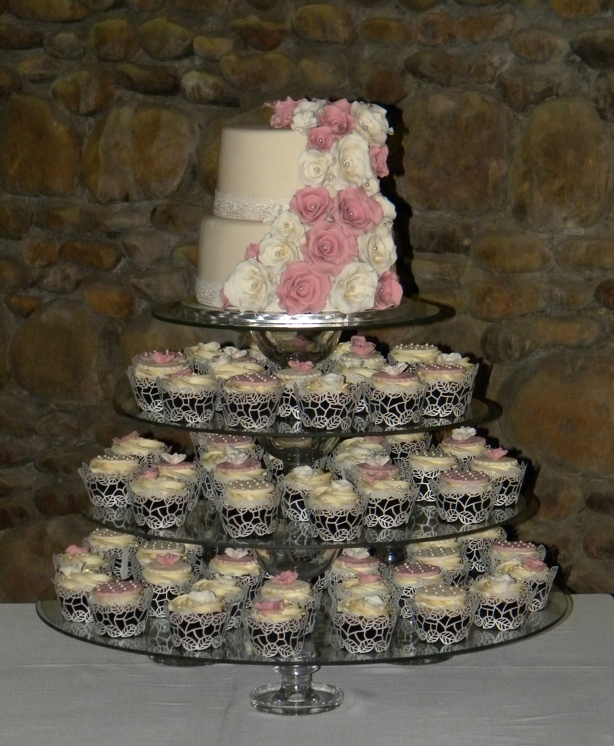 BITE ME CUPCAKES and WRAPPERS MINK & CREAM WEDDING CAKE