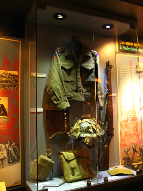 Photo of Canadian uniform during World War Two in Canadian War Memorial Museum in Caen, France.