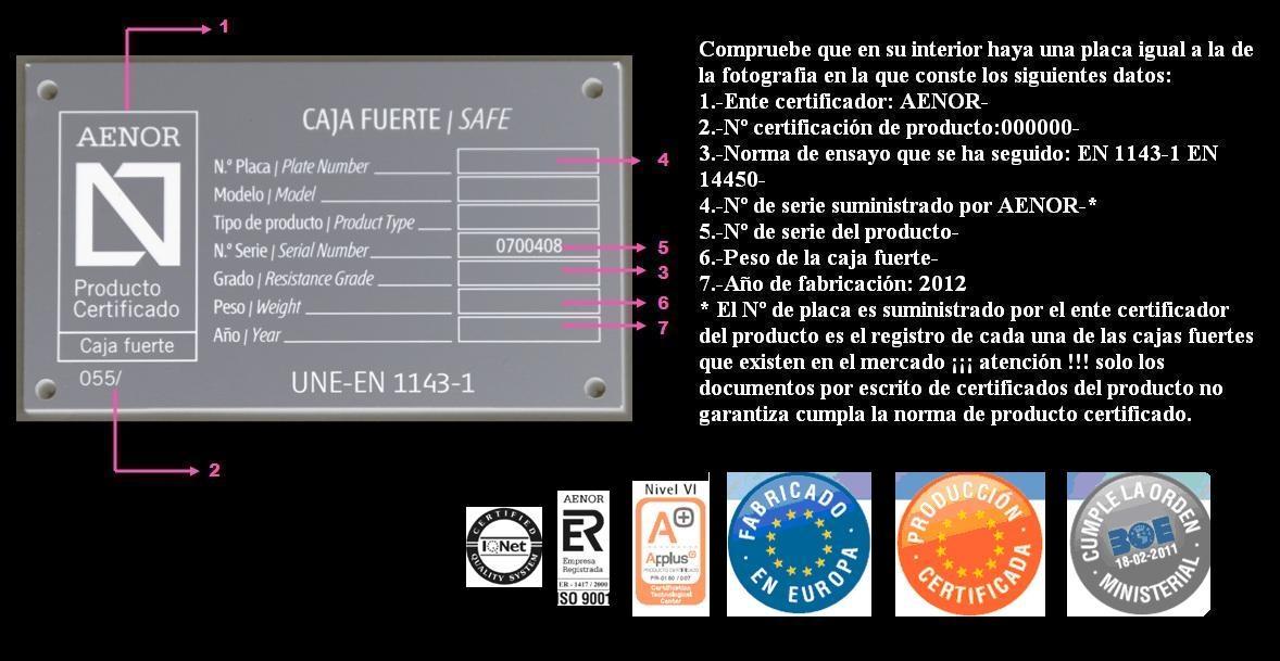 Si no tiene la caja fuerte esta placa su Nº de Placa ¡¡¡EL CERTIFICADO PUEDE SER FALSO!!!