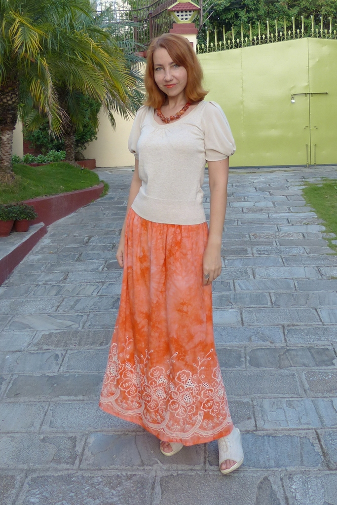 Embroidered orange maxi skirt