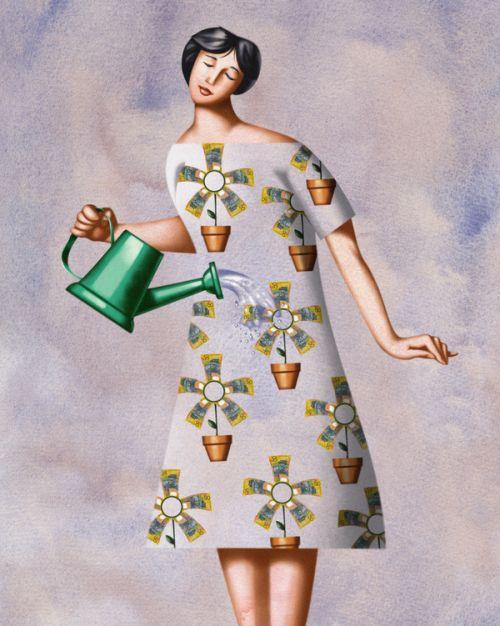 Jim Tsinganos ilustrações surreais oníricas natureza revista Regando o vestido
