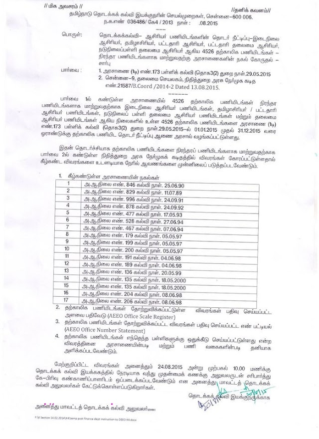 தொடக்கக்கல்வி - 4526 தற்காலிக பணியிடங்களை நிரந்தரமாக மாற்றுவது சார்ந்து இயக்குனர் செயல்முறைகள்