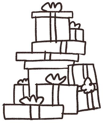 山積みのプレゼントのイラスト(クリスマス) 白黒線画