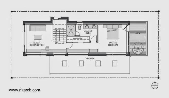 Plano de planta tercer nivel casa pasiva en Seattle