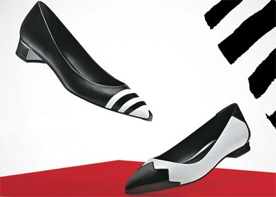 Arezzo Dia dos Namorados coleção capsula P&B scarpin preto e branco e sapatilha preta e branca