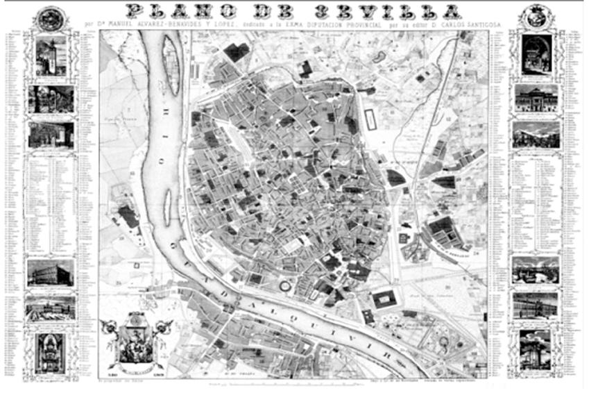 Plano de 1868. Plano de Manuel u00c1lvarez-Benavides y Lu00f3pez.