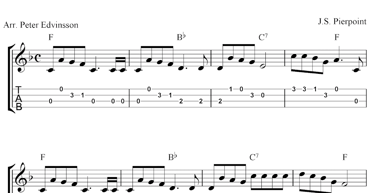 Jingle Bells, free Christmas ukulele tab sheet music