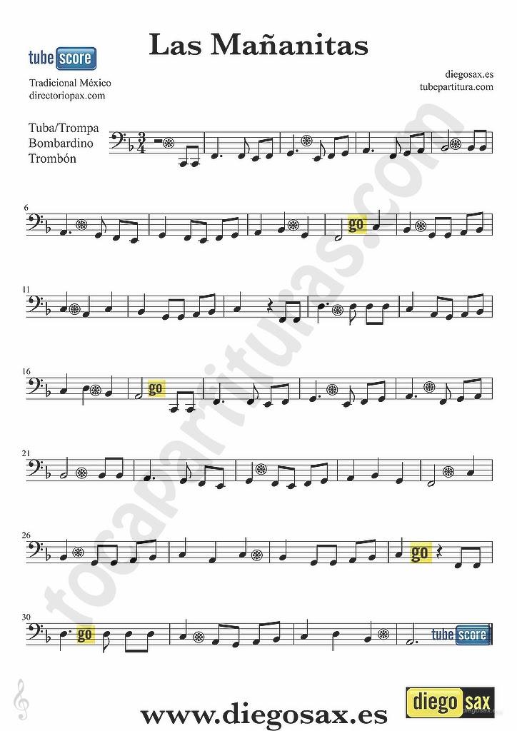 All Music Chords las mananitas trumpet sheet music : tubescore: Las Mañanitas Sheet music for Trombone, Tube and ...