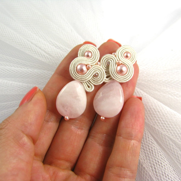 Soutache ślubny różowy, kolczyki