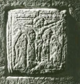 stolen romanesque or saxon crucifixion scene from Kelston, North-East Somerset