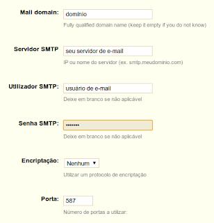 Configurando e-mail Prestashop - Dados da configuração