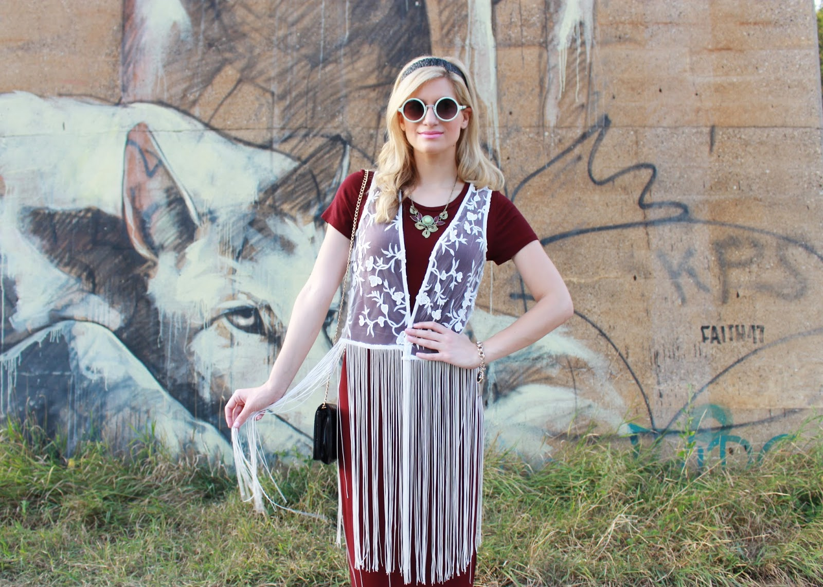 bijuleni- fringe lace vest and retro sunglasses