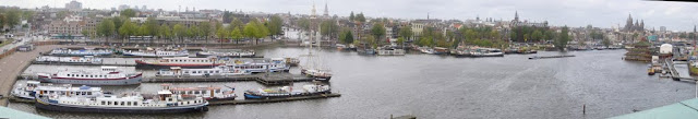 A panorama of the downtown of Amsterdam from Nemo Science Center in Amsterdam, Netherlands