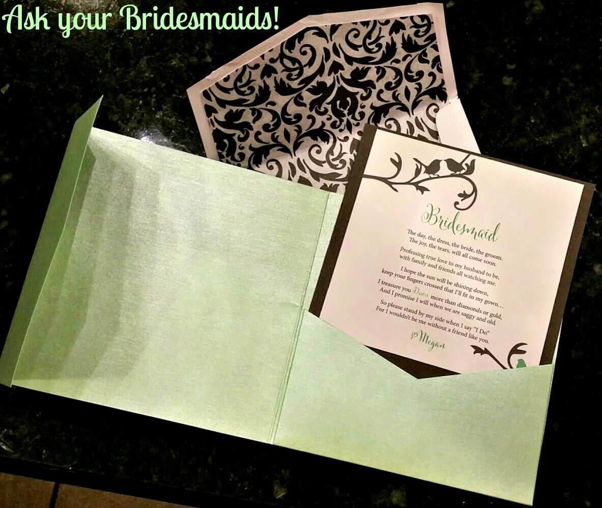 Ask Bridesmaids to be in your Wedding - Card