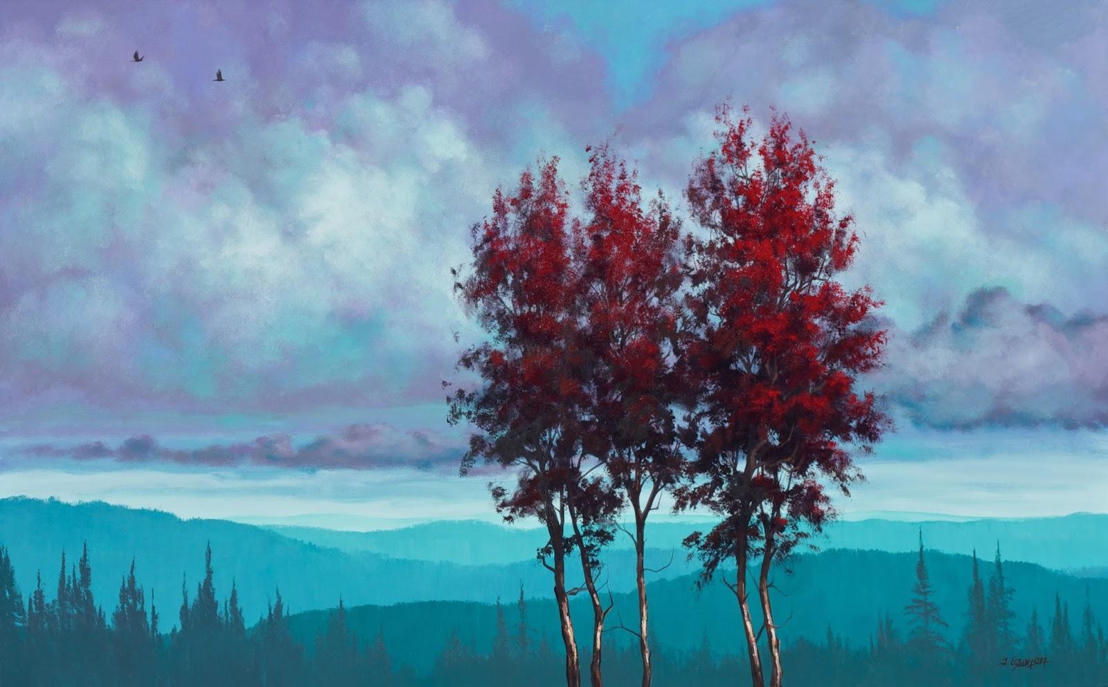 Misty Forest-Tim Gagnon 蒂姆·加格儂-繪畫和圖片的組合,迷霧森林充滿了松樹和其他常綠喬木, 野生精靈在森林內的某處(第一輯)。。。 - milk  - ☆ Milk ☆ 平平。淡淡。也是真。