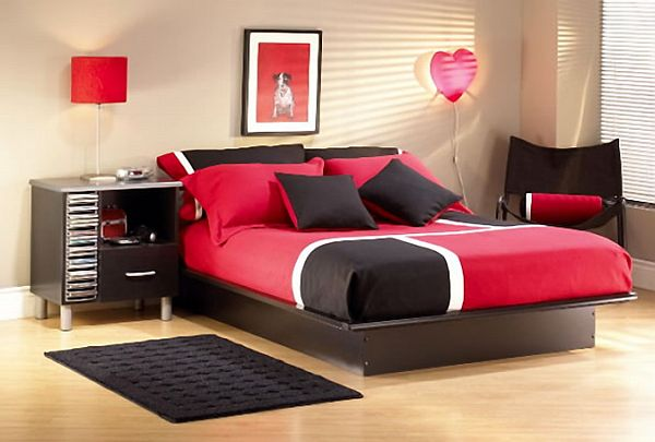 fashionable shoes stylish red and brown bedroom