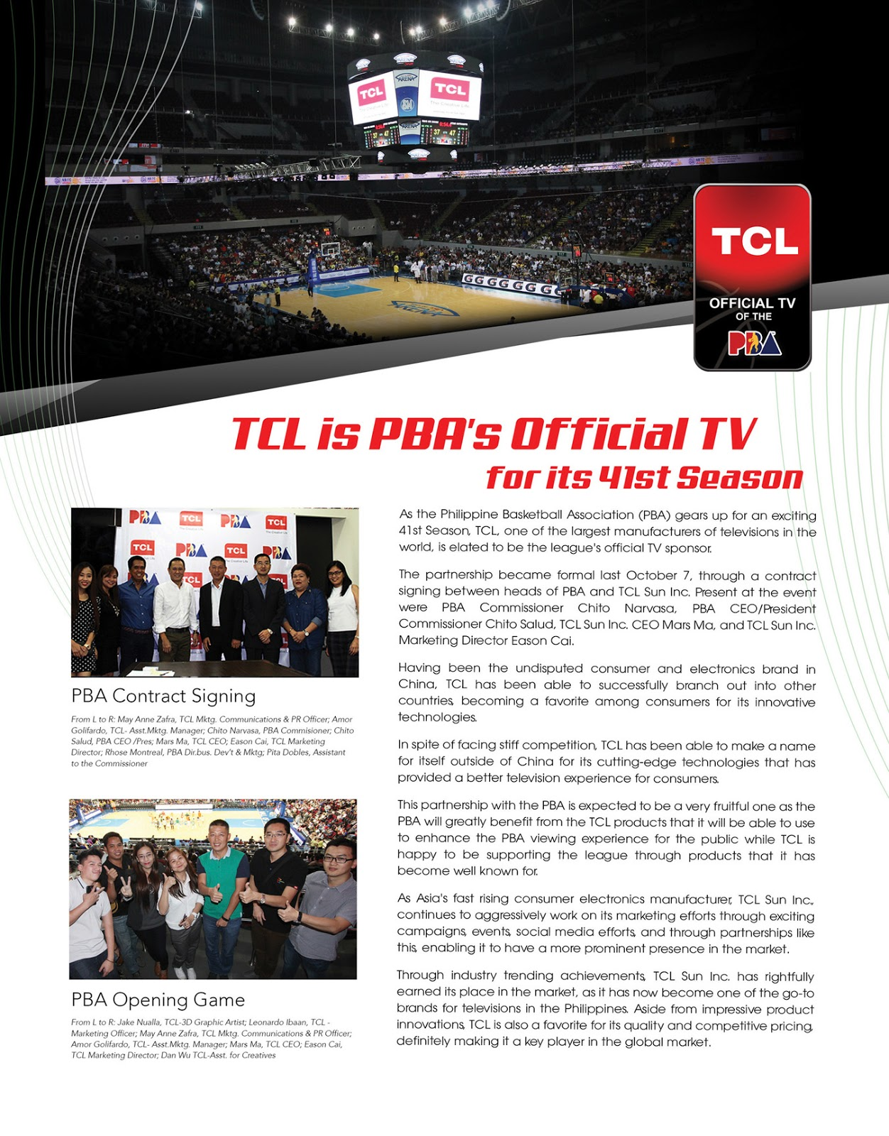TCL for PBA's 41st Season