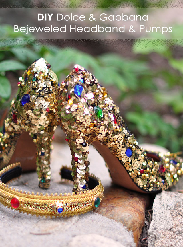 DIY Dolce & Gabbana Bejeweled Gold Headband Crown